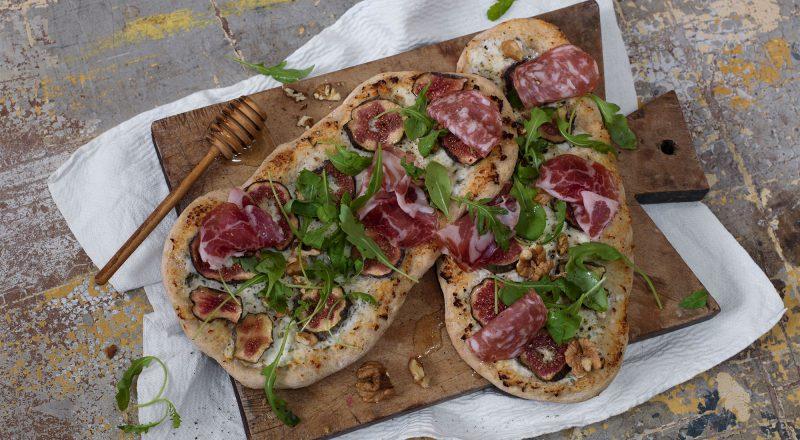 Pizza med ricotta och fikon