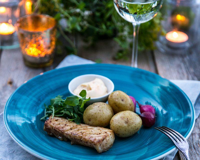 Torskrygg med smörslungad potatis, gröna blad, snabbpicklade rödlökar och limehollandaise